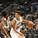 CHARLOTTE, NC - OCTOBER 23: Brian Roberts #22 of the Charlotte Hornets drives against the Indiana Pacers during the game at the Time Warner Cable Arena on October 23, 2014 in Charlotte, North Carolina. (Photo by Brock Williams-Smith/NBAE via Getty Images)