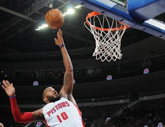 AUBURN HILLS, MI - APRIL 8: Greg Monroe #10 of the Detroit Pistons shoots the ball against the Boston Celtics on April 8, 2015 at The Palace of Auburn Hills in Auburn Hills, Michigan. (Photo by D. Williams/Einstein/NBAE via Getty Images)