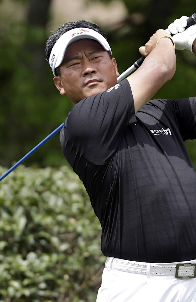 K.J. Choi watches his tee shot on the fifth hole during the first round of the Wells Fargo Championship golf tournament in Charlotte, N.C., Thursday, May 1, 2014