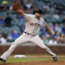 San Francisco Giants relief pitcher Jeremy Affeldt delivers against the Chicago Cubs during the eighth inning of thecontinuationof arain-suspended baseballgame that beganTuesday, on Thursday, Aug. 21, 2014, in Chicago. (AP Photo/Andrew A. Nelles)