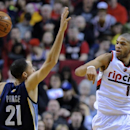 Memphis Grizzlies' Tayshaun Prince (21) defends against Portland Trail Blazers' Nicolas Batum (88) during the first half of an NBA basketball game in Portland, Ore., Sunday March 30, 2014 The Associated Press