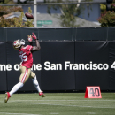 San Francisco 49ers tight end Vernon Davis makes a catch during an NFL football training camp on Thursday, July 24, 2014, in Santa Clara, Calif. (AP Photo) The Associated Press