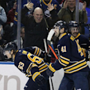 Buffalo Sabres center Tyler Ennis (63) celebrates his first period goal with Andrej Meszaros (41) and Matt Moulson (26) against the Montreal Canadiens in an NHL hockey game Friday, Nov. 28, 2014, in Buffalo, N.Y. Buffalo won 2-1 The Associated Press