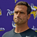 Minnesota Vikings special team coordinator Mike Priefer speaks to the media at the team's training camp in Mankato, Minn. Thursday, July 24, 2014. The Vikings report to camp with the off-the-field distraction of the lawsuit brought by former punter Chris Kluwe over alleged discrimination, following a six-month investigation that resulted in a three-game suspension of Priefer for an anti-gay remark. (AP Photo/The St. Paul Pioneer Press, John Autey)