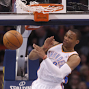 Oklahoma City Thunder guard Russell Westbrook dunks during the second quarter of an NBA basketball game against the Detroit Pistons in Oklahoma City, Wednesday, April 16, 2014 The Associated Press