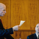 Assistant District Attorney William McCauley, left, questions Massachusetts State Trooper Michael Bates testifies during an evidentiary hearing for former New England Patriots football player Aaron Hernandez at Bristol County Superior Court, Thursday, Oct