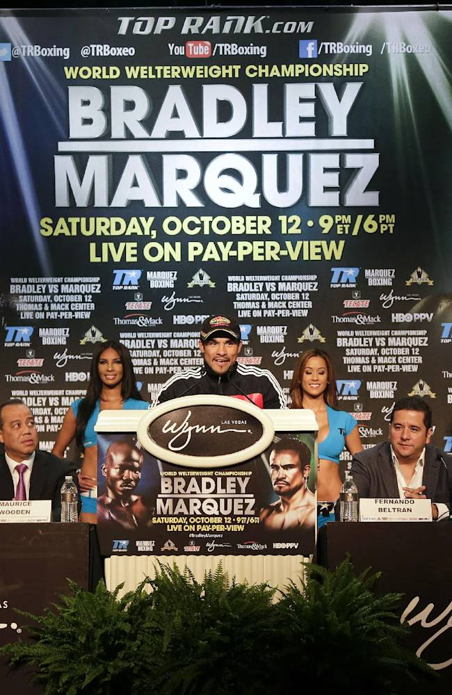 Boxer Juan Manuel Marquez speaks during a news conference, Wednesday, Oct. 9, 2013, in Las Vegas.  Marquez is scheduled to fight Timothy Bradley for Bradley's WBO welterweight title on Saturday