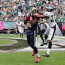 St. Louis Rams' Kenny Britt, front left, pulls in a touchdown pass against Philadelphia Eagles' Bradley Fletcher during the second half of an NFL football game, Sunday, Oct. 5, 2014, in Philadelphia The Associated Press