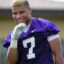 FILE - This Aug. 2, 2012 file photo shows LSU cornerback Tyrann Mathieu (7) smiling between drills during NCAA college football practice in Baton Rouge, La. LSU has dismissed Heisman Trophy finalist Mathieu from its football program for violating school and team rules. At a news conference Friday, Aug. 10, 2012, coach Les Miles would not specify the reason Mathieu was kicked off the team. (AP Photo/Gerald Herbert)