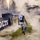 Indianapolis Colts wide receiver Reggie Wayne (87) runs onto the field during introductions before the start of an NFL football game against the Philadelphia Eagles Monday, Sept. 15, 2014, in Indianapolis The Associated Press