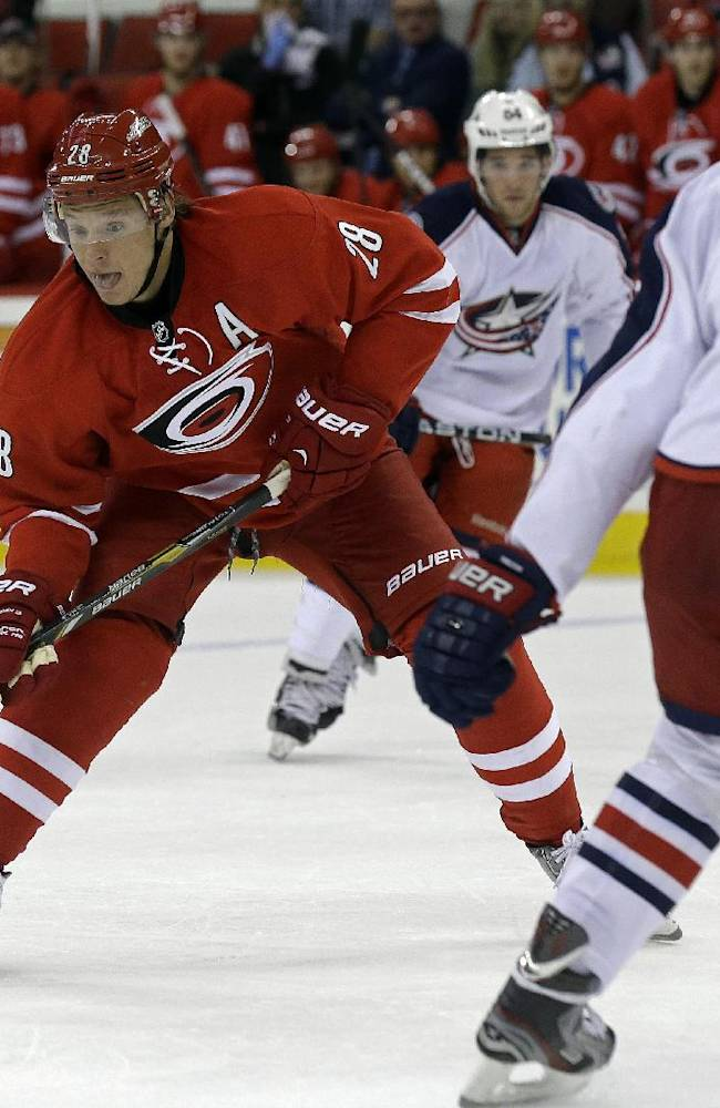 Carolina Hurricanes' Alexander Semin (28), of Russia, controls the puck against Columbus Blue Jackets' Nikita Nikitin (6), of Russia, during the second period of an NHL preseason hockey game in Raleigh, N.C., Wednesday, Sept. 18, 2013