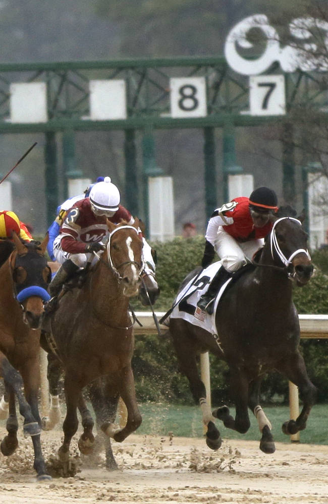 Mike Smith, left, raises his whip as he and Hoppertunity move past Tapiture and Ricardo Santana Jr., center, and Ride On Curlin and Kent Desormeaux, right, down the stretch of the Rebel Stakes horse race at Oaklawn Park in Hot Springs, Ark., Saturday, March 15, 2014. Hoppertunity won the race