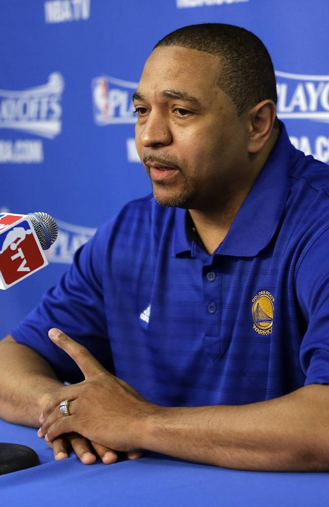Golden State Warriors head coach Mark Jackson answers questions during a pregame news conference before Game 4 of an opening-round NBA basketball playoff series against the Los Angeles Clippers on Sunday, April 27, 2014, in Oakland, Calif