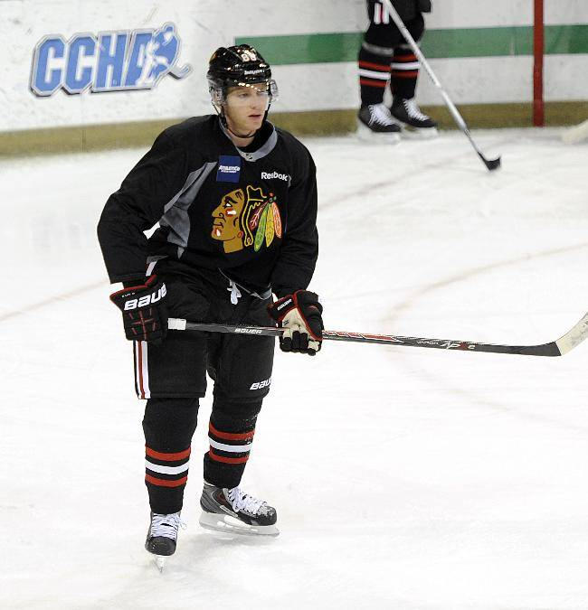 Chicago Blackhawks' Patrick Kane waits for a pass during a practice at the teams NHL hockey training camp on the campus of the University of Notre Dame in South Bend, Ind., Thursday, Sept. 12, 2013