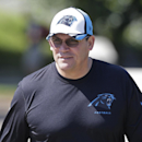 Carolina Panthers head coach Ron Rivera walks to a practice at the NFL football team's rookie minicamp in Charlotte, N.C., Friday, May 8, 2015. (AP Photo/Chuck Burton)