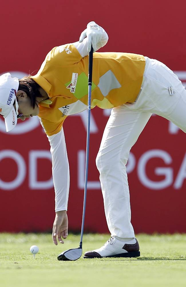 South Korea's Na Yeon Choi prepares to tee off on the first hole during the first round of the Reignwood LPGA Classic golf tournament at Pine Valley Golf Club on the outskirts of Beijing, China, Thursday, Oct. 3, 2013