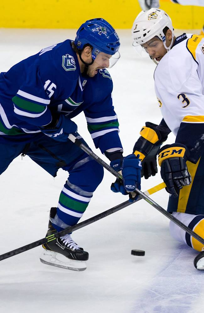 Predators score twice in third to edge Canucks 2-1