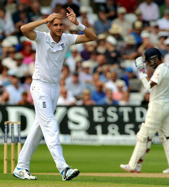 England's bowler Stuart Broad reacts  after a delivery during day one of the first Test between England and India at Trent Bridge cricket ground, Nottingham, England, Wednesday, July 9, 2014
