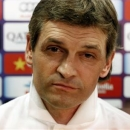 Barcelona's coach Tito Vilanova listens to a question during a news conference after a training session at Ciutat Esportiva Joan Gamper in Sant Joan Despi, near Barcelona, in this July 16, 2013 file photo. REUTERS/Gustau Nacarino/Files
