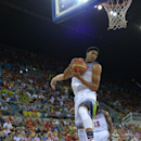 LAS PALMAS, GRAN CANARIA, SPAIN - AUGUST 26: Anthony Davis #14 of the USA Men's National Team rebounds against the Slovenia National Team at Gran Canaria Arena in Las Palmas, Gran Canaria, Spain on August 26, 2014. (Photo by Andrew D. Bernstein/NBAE via Getty Images)