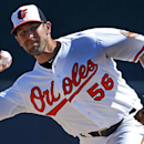Baltimore Orioles relief pitcher Darren O'Day (56) warms up before the fifth inning of an exhibition spring training baseball game against the Boston Red Sox in Sarasota, Fla.,Saturday, March 8, 2014 The Associated Press