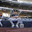 Colorado Rockies shortstop Troy Tulowitzki relaxes o[n a chair while awaiting batting practice and other pre game activities at the MLB National League baseball game against the San Diego Padres Tuesday, April 15, 2014, in San Diego The Associated Press
