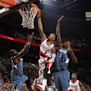 Damian Lillard #0 of the Portland Trail Blazers goes up for a dunk during a game against the Minnesota Timberwolves on February 23, 2014 at the Moda Center Arena in Portland, Oregon. (Photo by Sam Forencich/NBAE via Getty Images)