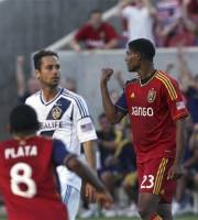 Real Salt Lake midfielder Khari Stephenson celebrates scoring a goal against the Los Angeles Galaxy during the first half of an MLS soccer game Saturday, June 8, 2013, in Sandy, Utah. (AP Photo/The Salt Lake Tribune, Kim Raff)