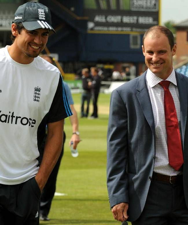 England's Alastair Cook, left, talks to former England captain and TV pundit Andrew Strauss before day five of the Second Test Match between England and Sri Lanka at Headingley cricket ground, Leeds, England, on Tuesday, June 24, 2014