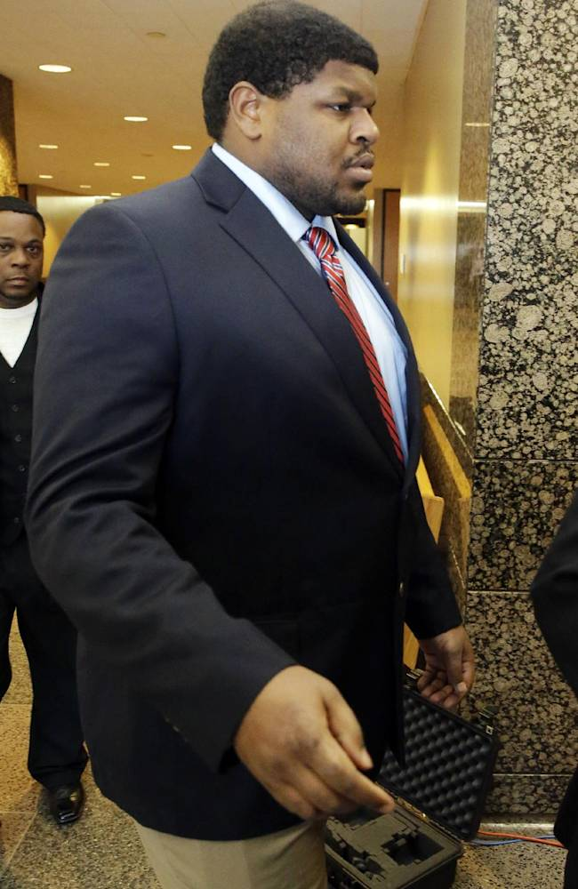 Former Dallas Cowboys NFL football player Josh Brent arrives at court for closing arguments in his intoxication manslaughter trial Tuesday, Jan. 21, 2014, in Waco, Texas. Lawyers wrapped up their closing arguments Tuesday morning before the case went to the jury for deliberations. Prosecutors accuse the former defensive tackle of drunkenly crashing his Mercedes near Dallas during a night out in December 2012, killing his good friend and teammate, Jerry Brown