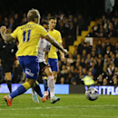 Derby's Johnny Russell scores a goal during the English League Cup soccer match between Fulham and Derby County at Craven Cottage stadium in London, Tuesday, Oct. 28, 2014