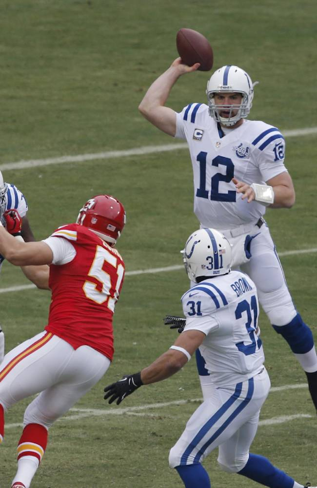 Indianapolis Colts quarterback Andrew Luck (12) passes to running back Donald Brown (31) during the first half of an NFL football game against the Kansas City Chiefs in Kansas City, Mo., Sunday, Dec. 22, 2013.  Chiefs linebacker Frank Zombo (51) breaks away from a block on the play