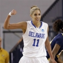 Delaware guard/forward Elena Delle Donne reacts after being fouled as she scored a basket during the second half of a first-round game against West Virginia in the women's NCAA college basketball tournament in Newark, Del., Sunday March 24, 2013. Delle Donne contributed a game-high 33 points to Delaware's 66-53 win. (AP Photo/Patrick Semansky)
