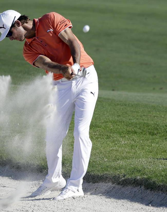 Will MacKenzie hits from a bunker on the 15th fairway during a practice round for The Players championship golf tournament at TPC Sawgrass in Ponte Vedra Beach, Fla., Tuesday, May 6, 2014