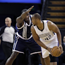 Sacramento Kings forward Chuck Hayes, right, looks to pass off against Oklahoma City Thunder's Kendrick Perkins during the first quarter of an NBA basketball game in Sacramento, Calif., Tuesday, Dec. 3, 2013 The Associated Press