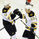 Boston Bruins left wing Simon Gagne, left, congratulates center Brad Marchand after Marchand scored an empty-net goal against the Detroit Red Wings during the third period of an NHL hockey game in Detroit, Saturday, Sept. 27, 2014. The Bruins won 3-1. The