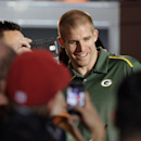 Green Bay Packers' Jordy Nelson gets his picture taken during the NFL Football Pro Bowl draft Wednesday, Jan. 21, 2015, in Phoenix The Associated Press