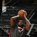 SAN ANTONIO, TX - JUNE 12: LeBron James of the Miami Heat shoots during practice as part of the 2013 NBA Finals on June 12, 2013 at AT&T Center in San Antonio, Texas. (Photo by Joe Murphy/NBAE via Getty Images)