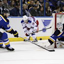 St. Louis Blues goalie Brian Elliott (1) makes a blocker save on a shot from behind the goal by New York Rangers' Derick Brassard (16) as Alex Pietrangelo (27) defends in the first period of a NHL hockey game, Thursday, Oct. 9, 2014 in St. Louis The Assoc