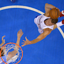Los Angeles Clippers forward Blake Griffin, right, goes up for a dunk as Denver Nuggets forward Jan Vesely, of the Czech Republic, defends during the first half of an NBA basketball game, Tuesday, April 15, 2014, in Los Angeles The Associated Press