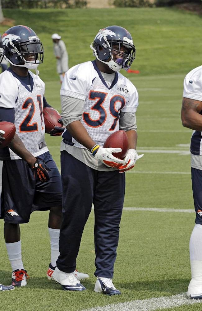 Denver Broncos running backs, from left; Jacob Hester, Montee Ball, Ronnie Hillman, C.J. Anderson and Jeremiah Johnson line up for a drill during practice at NFL football minicamp at the team's training facility Thursday, June 13, 2013, in Englewood, Colo