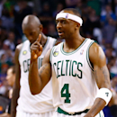 BOSTON, MA - APRIL 28: Jason Terry #4 of the Boston Celtics celebrates after making a two-point shot in overtime against the New York Knicks during Game Four of the Eastern Conference Quarterfinals of the 2013 NBA Playoffs on April 28, 2013 at TD Garden in Boston, Massachusetts. (Photo by Jared Wickerham/Getty Images)