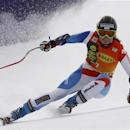Martina Schild of Switzerland clears a gate during the women's Alpine Skiing World Cup Super G race in Bansko February 26, 2012. REUTERS/Dominic Ebenbichler