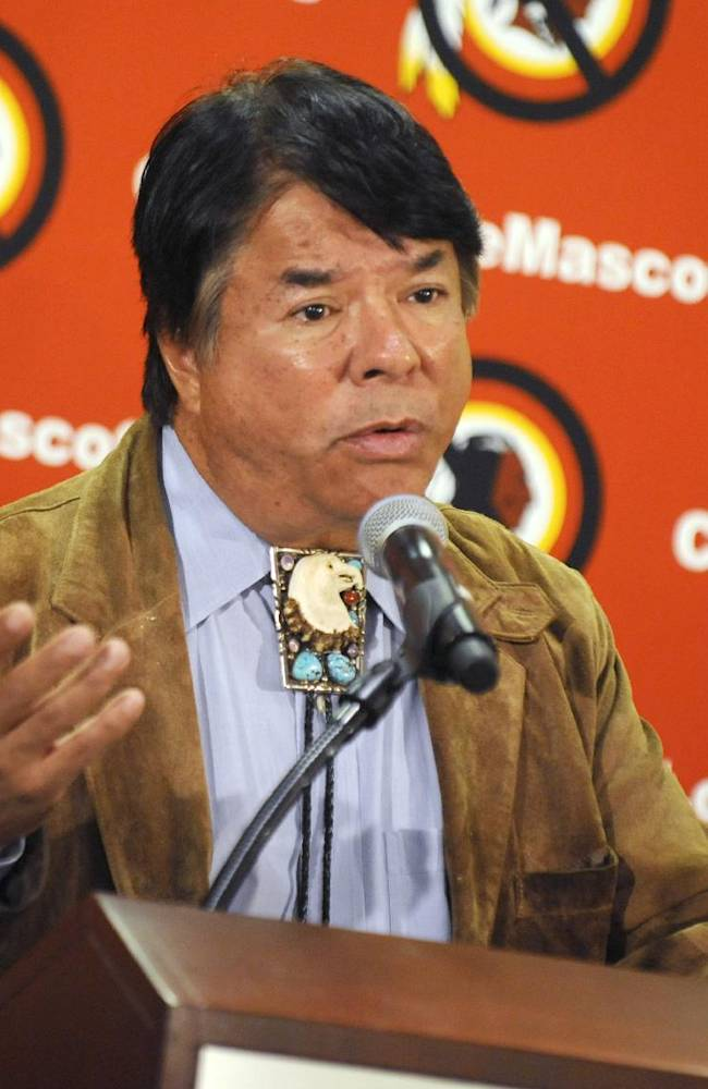Oneida Indian Nation representative Ray Halbritter speaks during a news conference, Wednesday, Oct. 30, 2013, in New York. Representatives of the Oneida have requested a meeting with all 32 NFL owners during Super Bowl week, hoping to persuade them to get the Washington franchise to drop the nickname Redskins. The Oneidas also asked for an amendment to league bylaws to prohibit franchises from naming a team with any term that is a racial epithet. Halbritter says the dictionary defines the word