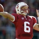 FILE - In this Sept. 15, 2012 file photo, Stanford quarterback Josh Nunes throws against Southern California during the first half of an NCAA college football game in Stanford, Calif. While lifting weights in February, Nunes completely tore off his right chest muscle, which led to his decision to officially retire from football Monday, April 29, 2013, ending a collegiate career filled with dramatic highs and devastating setbacks. (AP Photo/Marcio Jose Sanchez, File)