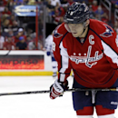 Washington Capitals right wing Alex Ovechkin (8), from Russia, pauses on the ice during a break in the second period of an NHL hockey game against the Tampa Bay Lightning, Sunday, April 13, 2014, in Washington The Associated Press