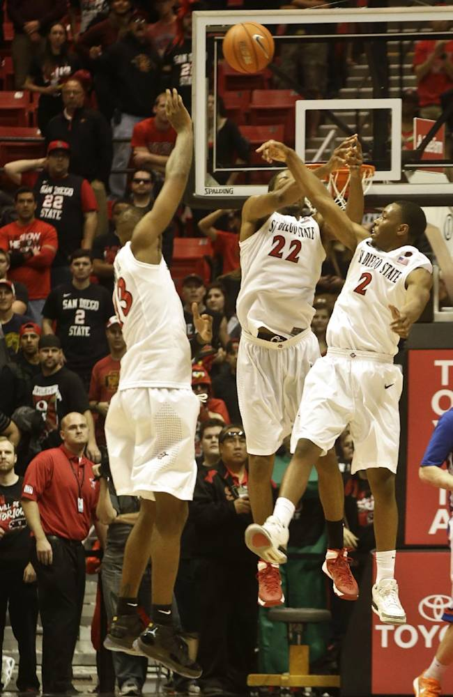 San Diego State 's Winston Shepard, left, Josh Davis, center, and Xavier Thames knock away a desperation full court last second shot by Boise State during the second half of San Diego State's 69-66 victory in an NCAA college basketball game Wednesday, Jan. 8, 2014, in San Diego
