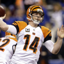 In this Jan. 4, 2015, file photo, Cincinnati Bengals quarterback Andy Dalton (14) throws a pass during the first half of an NFL wild card playoff football game against the Indianapolis Colts in Indianapolis. Dalton is headed to his second Pro Bowl, replac