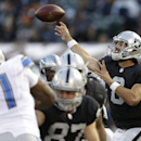 Oakland Raiders quarterback Matt Schaub (8) passes against the Detroit Lions during the first half of an NFL preseason football game in Oakland, Calif., Friday, Aug. 15, 2014 The Associated Press