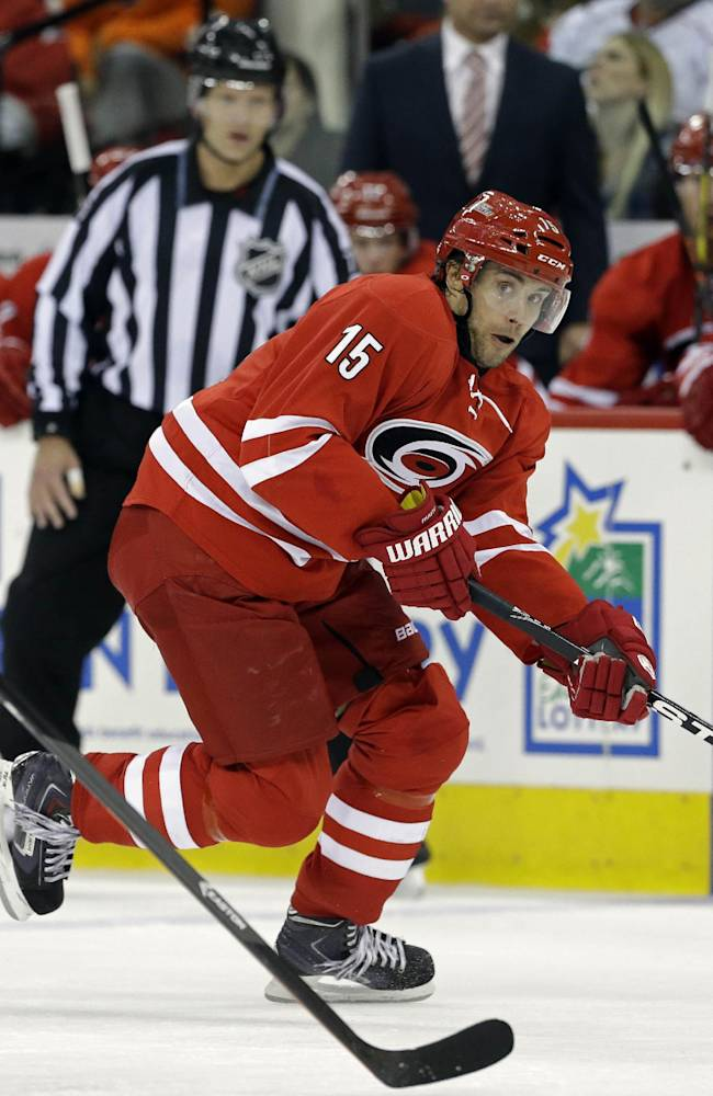 Carolina Hurricanes' Tuomo Ruutu (15), of Finland, controls the puck against Philadelphia Flyers' Mark Streit (32), of Switzerland, during the second period of an NHL hockey game in Raleigh, N.C., Tuesday, Nov. 5, 2013